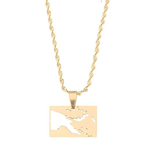 Kkoqmw Collares con Colgante de Mapa de Papúa Nueva Guinea de Acero Inoxidable, joyería de Cadena de mapas de Color Dorado