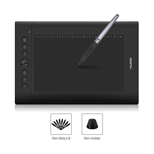 HUION Tablette Graphique 10 x 6,25 Pouces Nouveau H610PRO V2 avec Stylet sans Batterie et Fonction D'inclinaison du Stylet 8 Tablettes Graphiques Programmables