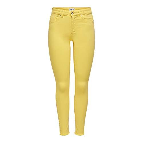 ONLY Damen ONLBLUSH Life MID SK ANKRAW COL PNT NOOS Jeans, Sunshine, M / 30