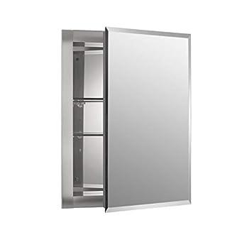 Kohler K-CB-CLR1620FS Frameless 16 Inch X 20 Inch Aluminum Bathroom Medicine Cabinet; Recess Installation Only