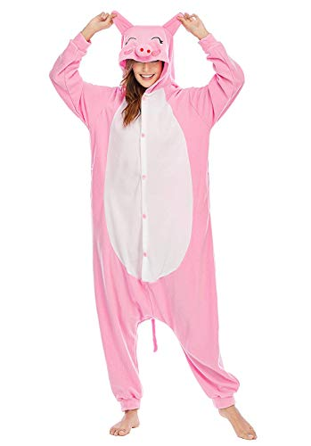 Unisexo Adulto Animal Pijama Cosplay Disfraz con Capucha Onesies Kigurumi Pyjama Homewear Mamelucos Ropa De Dormir para Carnaval Halloween,LTY53,Cerdo,M