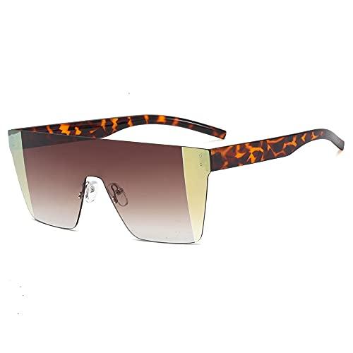 Gefüllte Gafas de Sol cuadradas de Gran tamaño para Mujer, sin Marco, en Forma de A, con Parte Superior Plana, para Hombres y Mujeres, diseñador, Retro, UV400, Azul, marrón, Sombra