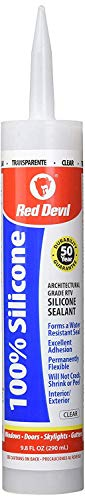Red Devil 0826 100% Silicone Sealant Architectural Grade, Clear, 9.8 oz, Pack of 12