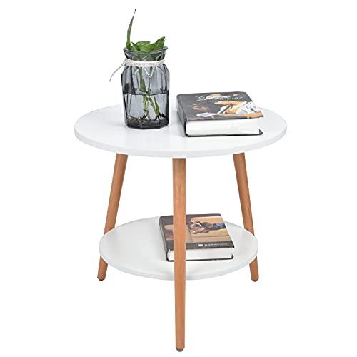 lyrlody Tavolino Basso da Divano, Tavolino da caffè Rotondo con 2 Piani Piccolo Coffee Table Bianca, per Soggiorno, Camera da Letto, Balcone, Altezza 47,3 cm