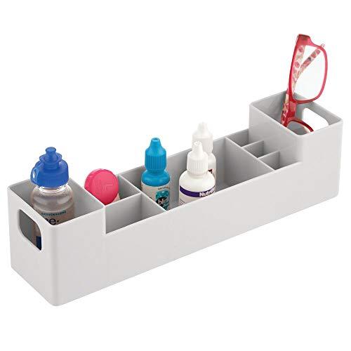 mDesign Caja para medicamentos con asas para el baño – Cajas clasificadoras apilables con 8 compartimentos para guardar tiritas o aceites – Organizador de baño de plástico sin BPA – gris claro