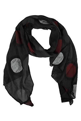Zwillingsherz Seiden-Tuch im Punkt Design - Hochwertiger Schal für Damen Mädchen - Halstuch - Umschlagstuch - Loop - weicher Schlauchschal für Frühjahr Sommer Herbst und Winter - anthrazit