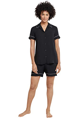 Schiesser Damen Pyjama Kurz Zweiteiliger Schlafanzug, Schwarz (schwarz 000), 46