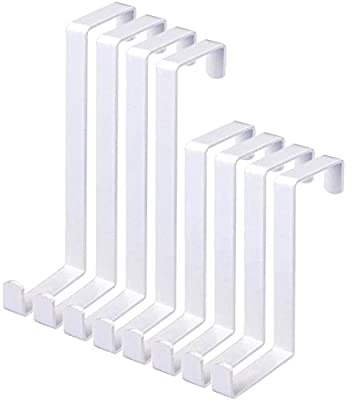 """8 Pack Over The Door Hooks, Z-Shaped Reinforced Metal Reversible Door Hanger, Fits 1-3/8"""" and 1-3/4"""", Hold Up to 35Lbs, for Hanging Clothes, Towels, Coats (White, 2 Lengths)"""