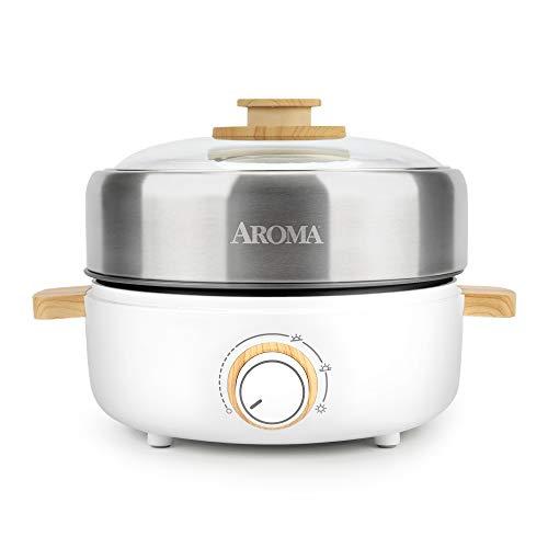 Aroma Housewares AMC-130 Whatever Pot Indoor Grill Kochen Hot Pot mit Glasdeckel Bambusgriffe 2,5L Edelstahl/Weiß