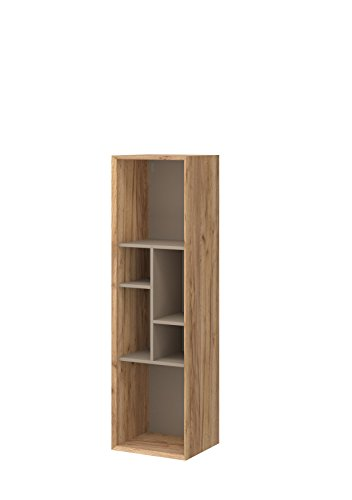 Preisvergleich Produktbild Germania 2326-244 Hängeregal CALVI,  Navarra-Eiche-Nb. / Steingrau,  35 x 40 x 140 cm