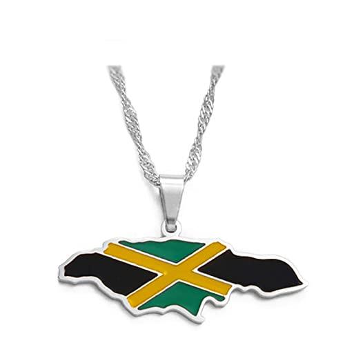 Banderas coloridas Nigeria Ghana Jamaica Guyana Mapas Acero inoxidable y esmalte Collares pendientes Joyería nacional
