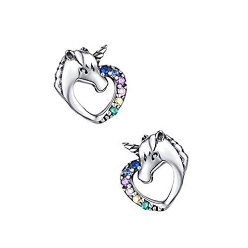 Unicorn Stud Earrings with Rhinestone Sterling Silver Cute Unicorn Earrings Hypoallergenic Earrings for Women 1 Pair Jewelry Gift
