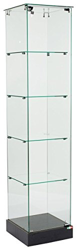 Glass Square Tower Display and Black MDF Base, with Locking Hinged Door and Hidden Wheels