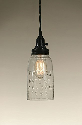 Colonial Tin Works - Lámpara de techo con fondo abierto de media galón, cristal transparente