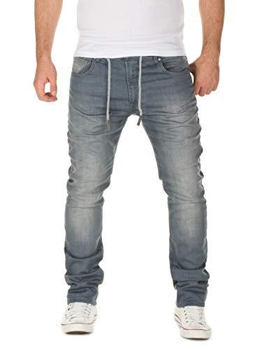 WOTEGA Herren Jeans Noah - Sweathose in Jeansoptik - Männer Jogg-Jeans Slim, Grau (Turbulence Grey 3R4215), W33/L30