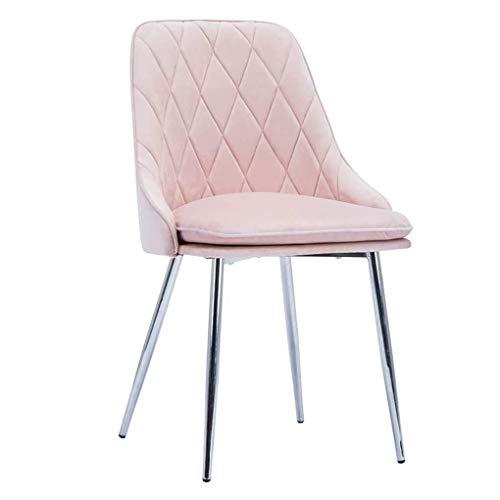 H-Schminktische Kosmetiktisch Stühle Soft Velvet Dining Chair, Küchentheke Lounge Side Sitz, Mit Metall Beine, for Wohnzimmer Schlafzimmer Cafe Vanity (Color : Pink, Size : Silver Legs)