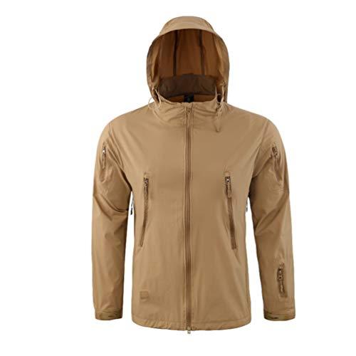 Sentao Wasserfeste Herren Winterjacke Warmer Softshell Jacke mit Reißverschluss Hooded Parka (Braun, Asia M)