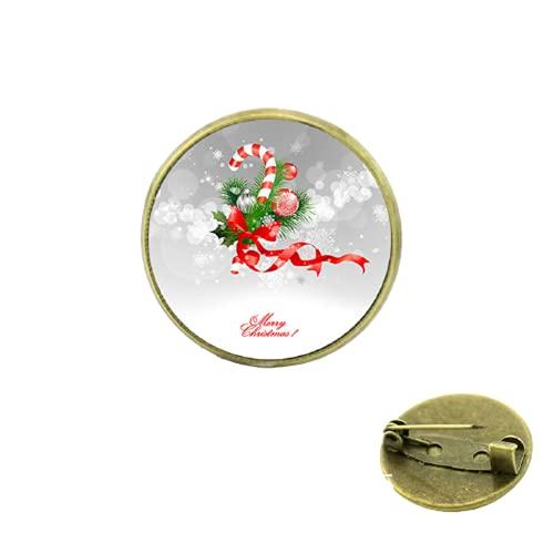 Venta caliente nueva llegada corazón Navidad caña con arco broches joyería para y regalo para bebé cristal Cabujón cúpula medalla