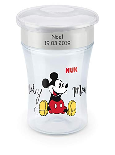 NUK Magic Cup, Trinklernbecher mit persönlicher Gravur, 230ml, ab 8 Monaten, Mickey Mouse, grau