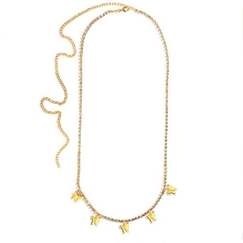 SONGK Collar de Cadenas de Cuerpo de Cristal con Colgante de Mariposa a la Moda para Mujer, Color Dorado y Plateado, cinturón Sexi para el Vientre, Festival, joyería para niñas