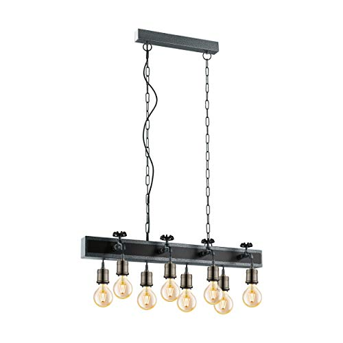 EGLO Suspension Goldcliff - 8 ampoules - Style industriel - Vintage - Rétro - Bois et acier - Noir - Argent antique - Bruni - Lampe de table de salon suspendue avec douille E27