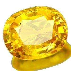 Todani Jems? 7.25 Ratti Cultured Yellow Sapphire Pukhraj Certified Precious Loose Gemstone for Men's and Women's