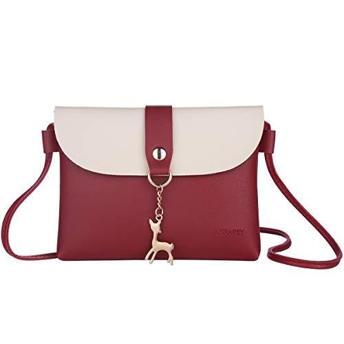 Lanling Kleine Crossbody Geldbörse für Frauen,Leder Umhängetasche Hirsch Crossbody Frauen Handtasche kleine Geldbörse Telefon Tasche für Mädchen(Rot)