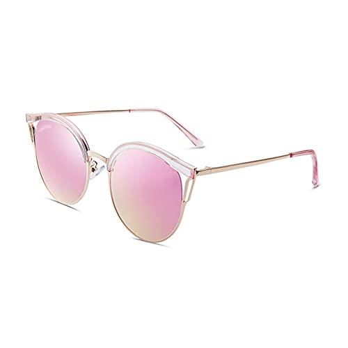Gafas de sol polarizadas de moda para mujer y hombre con marco de metal, 100% bloqueo UV clásico gafas de sol marco cómodo (color: oro rosa)