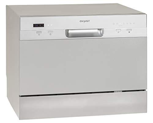 Exquisit Tischgeschirrspüler GSP206si / 55cm / Mini Spülmaschine / Platz für 6 Maßgedecke / 7 Spülprogramme / Silber