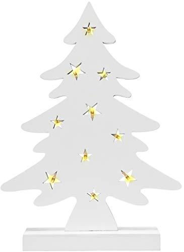 com-four® LED Baum als dekorative Beleuchtung - Lichterbaum als Weihnachtsdekoration - Deko Weihnachtsbaum aus Holz - Holzdekoration zu Weihnachten (01 Stück - Baum weiß)