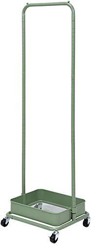 ハンガーラック キッズハンガーラック グリーン 緑 高さ調節 高さ152 から 高さ117 幅42 おしゃれ 北欧 かわいい モダン キャスター付 バスケット付 カバン置き ランドセル置き (オリーブグリーン)