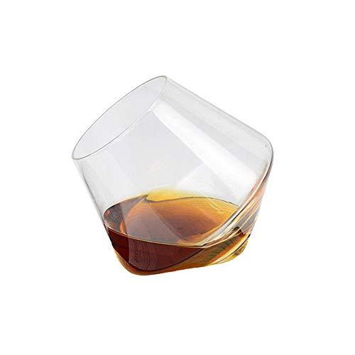 Yuanfenghua Bicchieri Whisky, Tumbler Rum Bicchiere Vino, Bicchiere Cocktail e Whiskey Cristallo, Set da 6 Pezzi con Effetto trottola