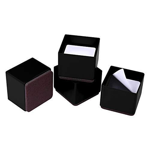 Ezprotekt 1.2 Zoll Möbelerhöhung aus Karbonstahl, 2.4 Zoll im Durchmesser, Selbstklebende Möbelerhöhung Fügt 1.2 Zoll Höhe zu Betten, Sofas Schränken, Unterstützt 50.000 lbs, Quadrat Schwarz