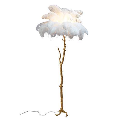 YEK standing floor lamp All Copper Branch Feathers Floor Lamp Modern Standing Pole Lamp Warm And Romantic for Living Room, Bedroom, Office Study Room decor floor lamp (Color : White)
