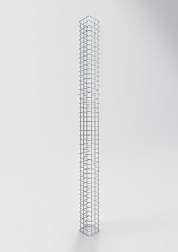 GABIONA Säule Steinkorb-Gabione eckig, Maschenweite 5 x 5 cm, Höhe 230 cm, Spiralverschluss, galvanisch verzinkt (17 x 17 cm)