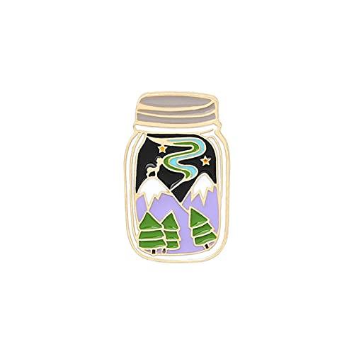 TENGCHUANGSM Hermosa taza creativa broche de fruta bebida té tinta cielo estrellado montaña Pin historieta insignia solapa pin joyería accesorios regalo