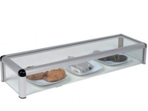 Vitrina expositora alimentos, ideal barra bar para los aperitivos, largo 1.000 mm. color aluminio