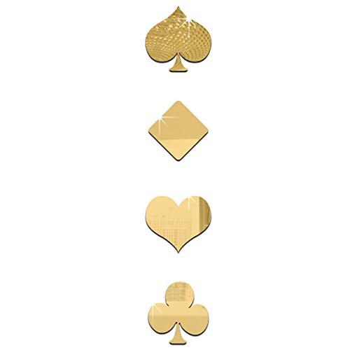 QJKai 4 Piezas de Espejos Pared Decorativos de Póker de Espejo Plateado de