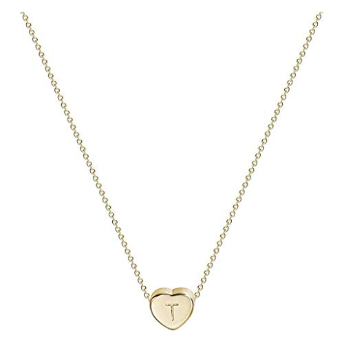 ZEFOTIM 14K Gold Pleated Stainless Steel Heart Initial Necklace - Small Pendant with 26 Letter for Women Kids Jewelry One Size T