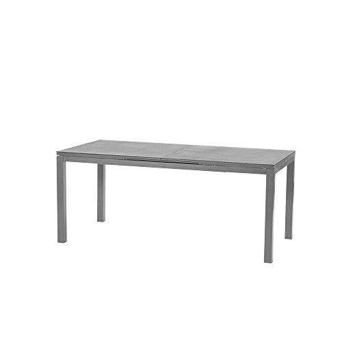 Siena Garden Ausziehtisch Miros, 180/240x90x76cm, Gestell: Aluminium, pulverbeschichtet in silber, Tischplatte: Spraystone