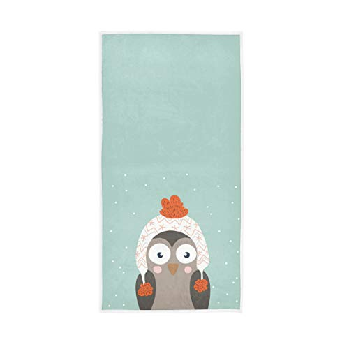 S Husky Cute Owl Hand Bath Towel Cartoon Pattern Quick-Dry Highly Absorbent Soft Face Towel for Bathroom Kitchen Gym Yoga 30 x 15 inches 2040536