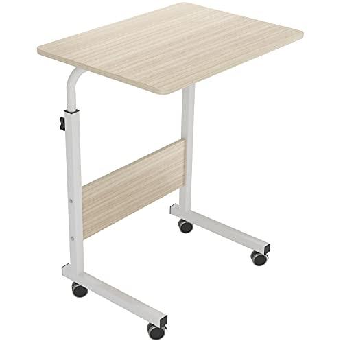 DlandHome 60 x 40 cm Tavolino Computer con Tavolino Regolabile in Altezza a Rulli con 4 Rotelle Bloccabili per Ufficio Camera da Letto, Acero