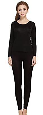 Women's Mulberry Silk Long Sleeve T-Shirt Pants Two Piece Black XL from
