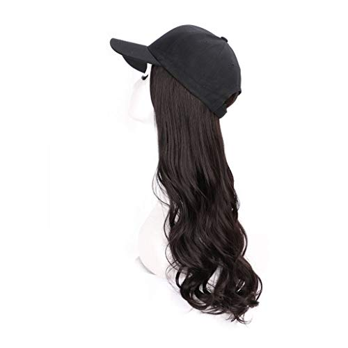 JJSPP 22inch Long Wave Baseball Cap Hair Wig Synthetic Cap Wig Hair Extension Naturally Connect Adjustable Cap Wig for Women Party Use (Color : Style 1)