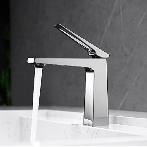 Fregadero de baño Tapas de lavabo simple 1 agujero Cuenca caliente y fría cuenca, todo el lavabo de lavabo de baño de cobre, grifo de cuenca a prueba de salpicaduras (negro, cromo) ( Color : Chrome )