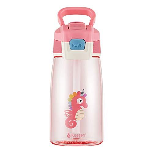 Keetan Kids Water Bottle with Straw 480ml, BPA Free, Leak-Proof, Reusable Drinking Bottle for School, Outdoor Sports (Pink, 480 ml)