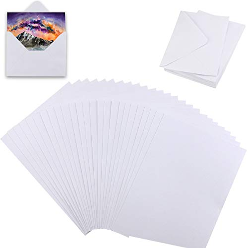 Newbested 100PCS White Watercolor Paper, Watercolor Paper Cold Press Cut Bulk for Watercolorist Students Beginning Artists 4.7 by 6.7 Inches with 50Pcs White Envelope 5 by 6.8 Inches