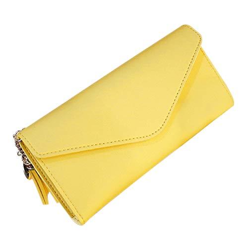 SKYXIU Cartera de cuero de la PU monedero simple monedero tarjeta de la cartera de la moda bolsos de embrague, Amarillo, 1,