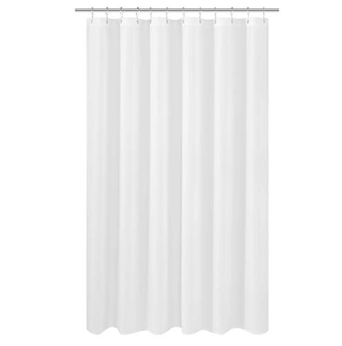 N&Y HOME Extra Long Shower Curtain Liner Fabric 72 x 80 inches, Hotel Quality, Washable, White Spa Bathroom Curtains with Grommets, 72x80