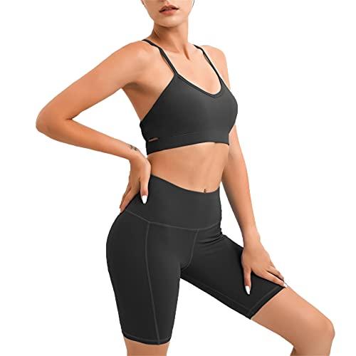 Conjunto de Ropa Fitness Deportiva para Mujer, Traje de yoga conjunto de entrenamiento con trajes de 2 piezas para mujeres que corren chándales de cintura alta elevación de tope pantalones cortos delg